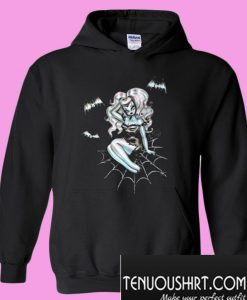 Vampire Pinup Girl on a Spider Web Hoodie
