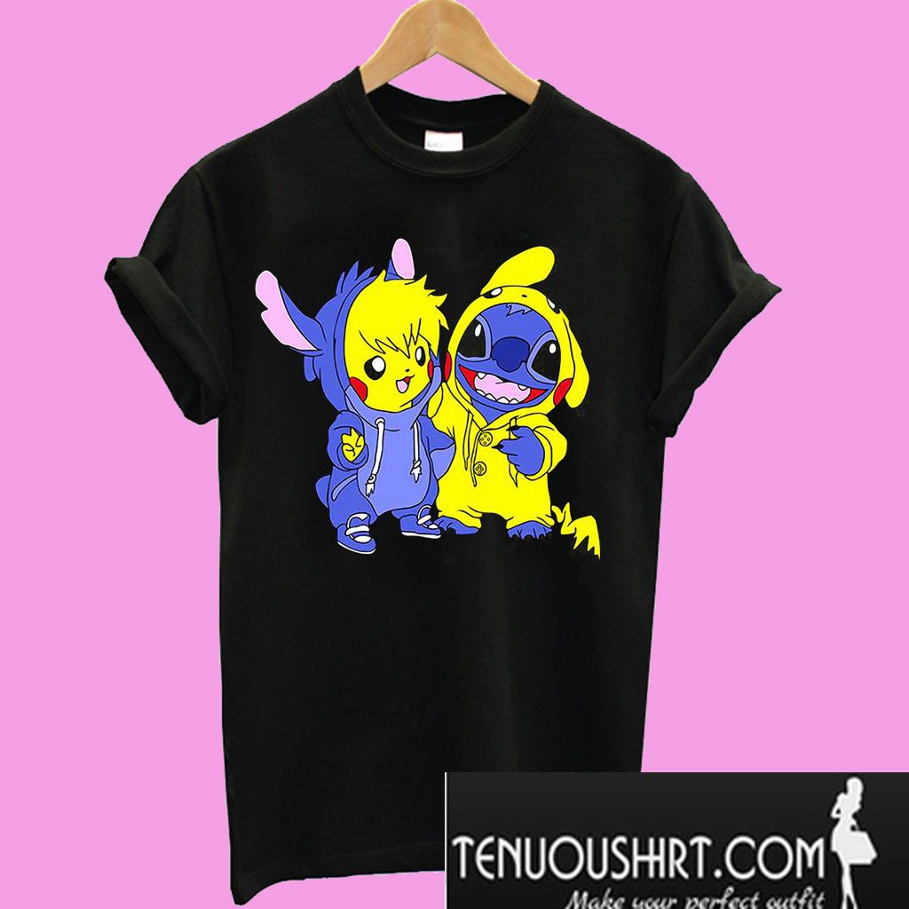 678230af2158 Baby Pikachu and baby Stitch T-Shirt