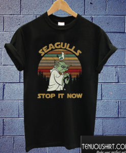 Sunset retro style Yoda Seagulls stop it now T shirt