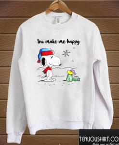 You Make Me Happy Snoopy And Woodstock Christmas Sweatshirt